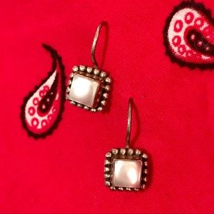 Made in India Silver and pearl drop earrings